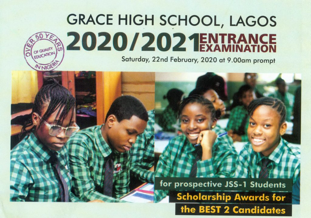 Grace School Entrance Examination 2020/2021